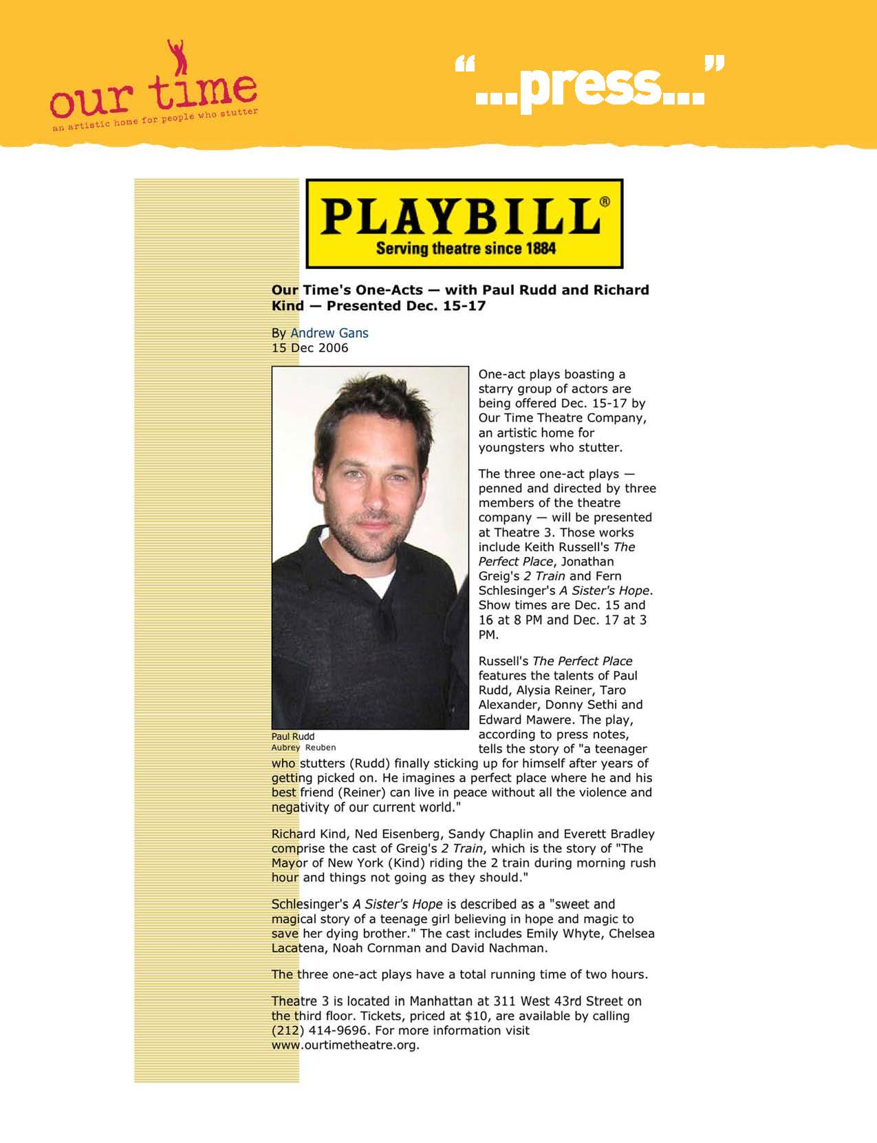 One-Acts with Paul Rudd & Richard Kind